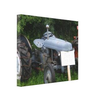 Vintage Dusky Blue Tractor Canvas Print