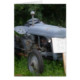 Vintage Dusky Blue Tractor Card