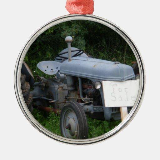 Vintage Dusky Blue Tractor Christmas Ornament
