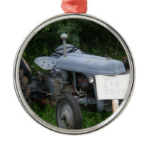Vintage Dusky Blue Tractor Metal Ornament