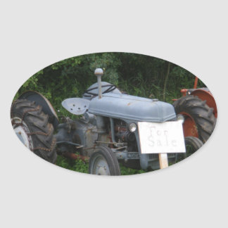 Vintage Dusky Blue Tractor Oval Sticker