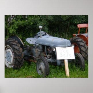 Vintage Dusky Blue Tractor Poster