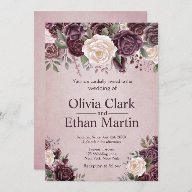 Vintage Dusty Rose Watercolor Floral Invitation