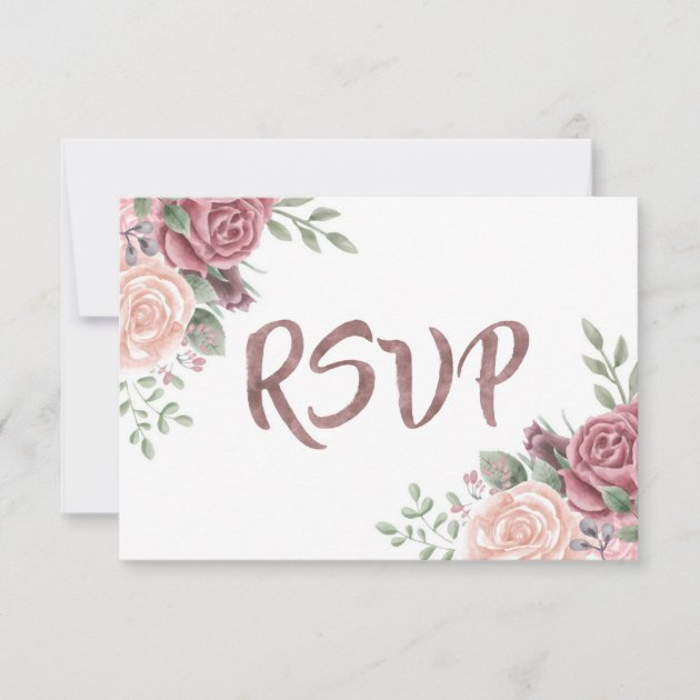 Watercolour Subtle Dusty Pink Personalised RSVP Cards
