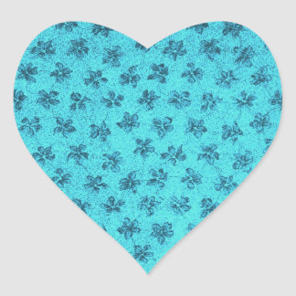 Vintage Dusty Violets Blue Heart Sticker
