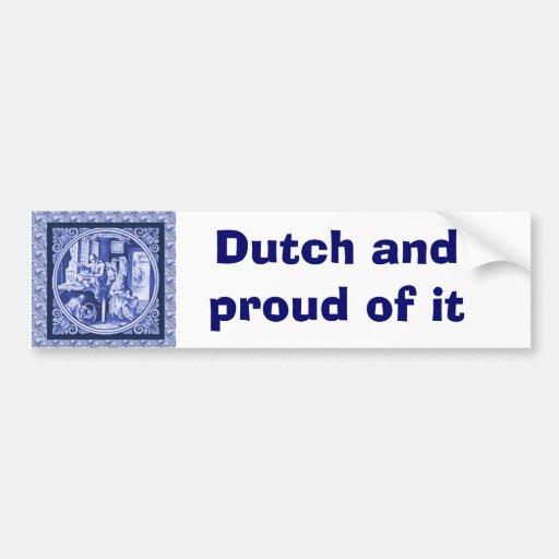 Vintage Dutch Blue Delft tile design Bumper Stickers