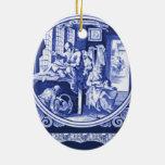 Vintage Dutch Blue Delft tile design Christmas Tree Ornament