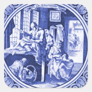 Vintage Dutch Blue Delft tile design Square Sticker