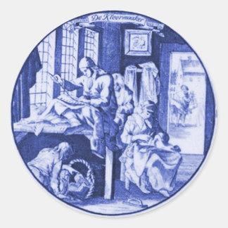 Vintage Dutch Blue Delft tile design Round Sticker