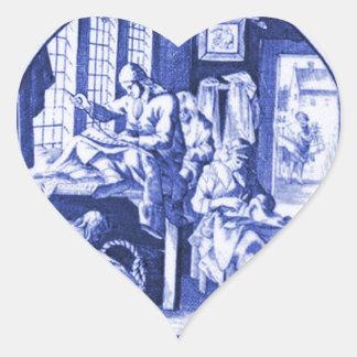 Vintage Dutch Blue Delft tile design Heart Stickers