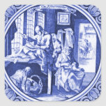 Vintage Dutch Blue Delft tile design Stickers