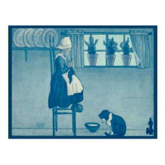 Vintage Dutch child  knitting at  home Postcard