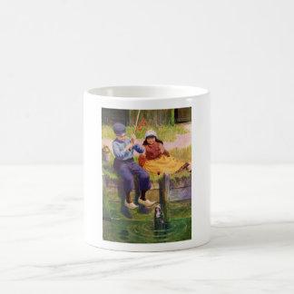 Vintage - Dutch Children Fishing For Dolls Classic White Coffee Mug