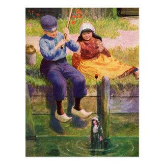 Vintage - Dutch Children Fishing For Dolls Postcard