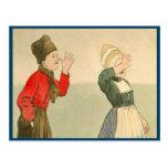 Vintage Dutch children in national costume Postcard