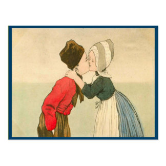 Vintage Dutch children kissing Postcard