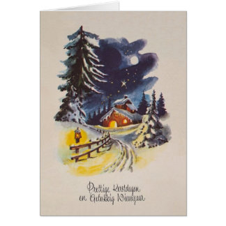 Vintage Dutch Christmas and New Year Greeting Card