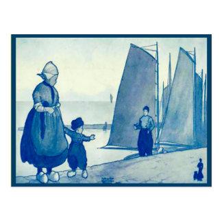 Vintage Dutch costume on the quayside Postcard