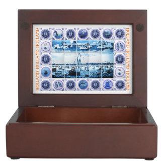 Vintage Dutch Delft Blue/ Delftware Ships Seascape Memory Box