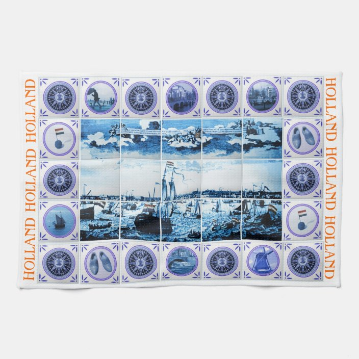 Vintage Dutch Delft Blue Delftware Tiles Holland Towel Zazzle Com