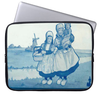 Vintage Dutch design, 1905,Family by the windmill Laptop Sleeve
