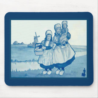 Vintage Dutch design, 1905,Family by the windmill Mouse Pad