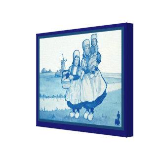 Vintage Dutch design, 1905, Family near windmill Canvas Print