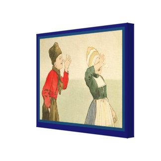 Vintage Dutch design, 1905, Girl and boy, gestures Stretched Canvas Print