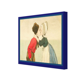 Vintage Dutch design, 1905, Girl and boy, kissing Canvas Print