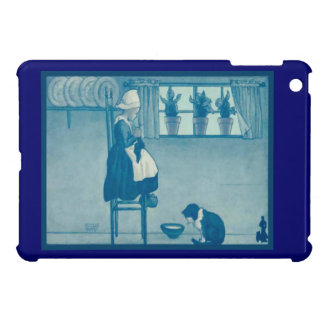 Vintage Dutch design, 1905,Girl and her knitting Case For The iPad Mini