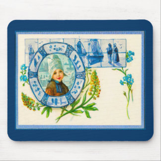 Vintage Dutch design, 1905, Girl with flowers Mouse Pad