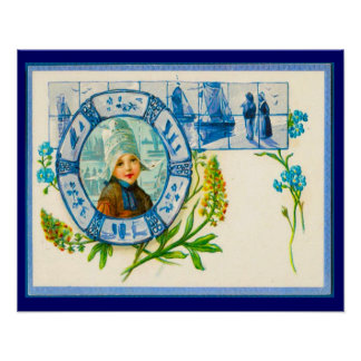 Vintage Dutch design, 1905 Girl with flowers Poster