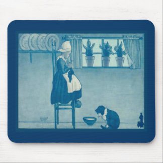 Vintage Dutch design, 1905,I love knitting Mouse Pad