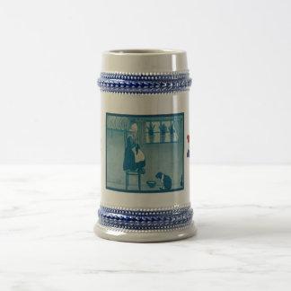 Vintage Dutch design, 1905 I love knitting Coffee Mugs