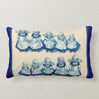 Vintage Dutch design, 1905 Little Dutch girls Lumbar Pillow