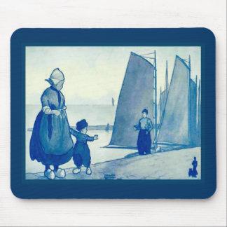Vintage Dutch design, 1905,Papa's gone fishing Mouse Pad