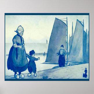 Vintage Dutch design, 1905 Waving goodbye Poster