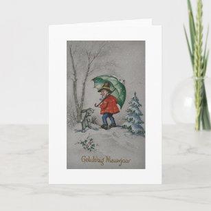 vintage dutch elf new year greeting card