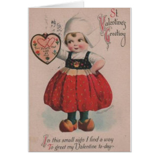 Vintage Dutch Girl Valentine's Day Greeting Card