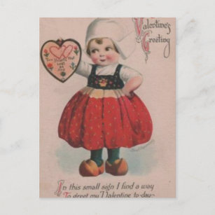 Vintage Dutch Girl Victorian Valentine's Day Holiday Postcard