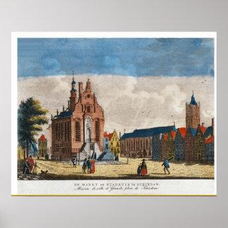 Vintage Dutch Image, Schiedam, marketplace Poster
