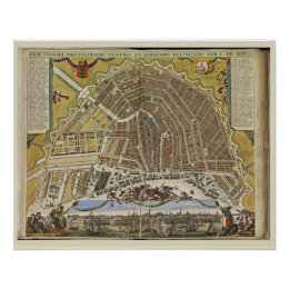 Vintage Dutch map of Amsterdam Poster