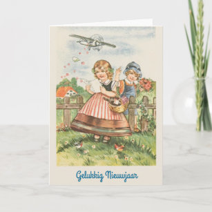 vintage dutch new year greeting card