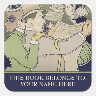 Vintage dutch newspaper advert bookplate square sticker
