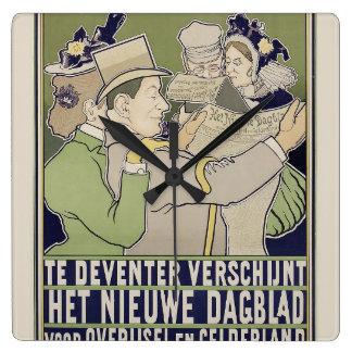 Vintage dutch newspaper advert clock