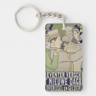 Vintage dutch newspaper advert keychain