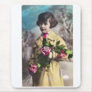 Vintage Dutch Postcard Little Girl Mouse Pad