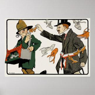 Vintage Dutch Poster Print: Theatre de Puces