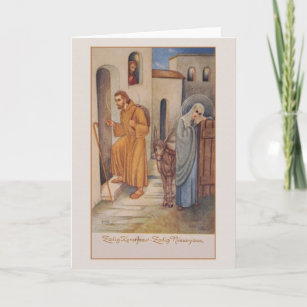 vintage dutch religious christmas new year card