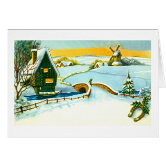 Vintage Dutch snow scene Card